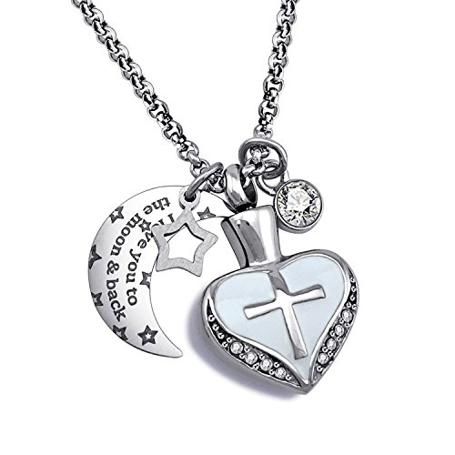 YOUFENG Urn Necklaces for Ashes I Love You to The Moon and Back Cross Necklace Birthstone CZ Keepsake Pendant (April Birthstone urn) ()