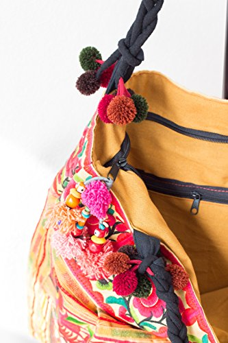 Size Hmong Changnoi Embroidered Hill Fabric Tote Unique Bag Tribes Yellow Orchid Large OHzz5Uwq