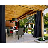 "Outdoor Curtain Black 100"" W x 84"" L Pinch Pleated For Track or Traverse Rod with Ring,at Front Porch, Pergola, Cabana, Covered Patio, Gazebo, Dock, and Beach Home."