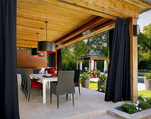 COFTY Outdoor Curtain Panels For Patio| Porch| Gazebo| Pergola | Cabana | dock| beach home - Pinch Pleat- Black 120W x 102L Inch (1 Panel) by COFTY