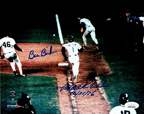Mookie Wilson Bill Buckner 1986 World Series Signed Auotgraphed 8x10 Photo - JSA Certified - Autographed MLB Photos