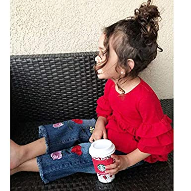 Little Girls Half Sleeve Ruffle Top T-Shirt and Rose Embroidery Holes Denim Jeans Pants Outfit Set