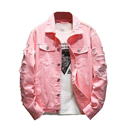 Denim Single Jacket Holes Mogogo Jean Plus Pink breasted Bomber Lapel hop Hip Size Mens qw0STfz