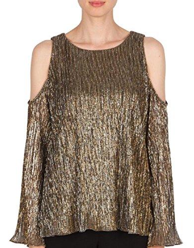 Joseph Ribkoff Shiny Pleated Knit Bronze Tunic Style 174833 Size 14 by Joseph Ribkoff