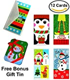 quest check - Set of 12 Christmas Money Card Holders: Assortment of Holiday Cards with Envelopes, to Hold Checks, Cash, & Gift Cards (Free Bonus Gift Tin)
