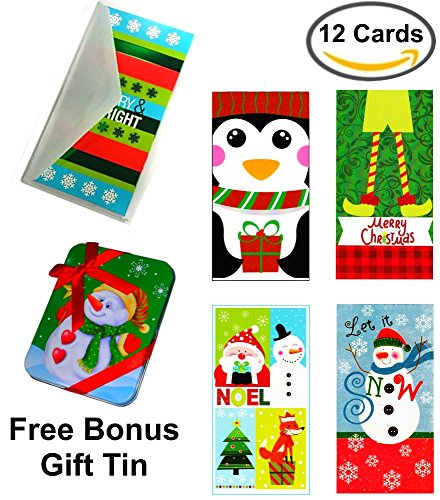 Set of 12 Christmas Money Card Holders: Assortment of Holiday Cards with Envelopes, to Hold Checks, Cash, & Gift Cards (Free Bonus Gift ()