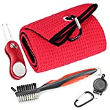 Mile High Life Microfiber Waffle Pattern Golf Towel | Club Groove Cleaner Brush | Foldable Divot Tool with Magnetic Ball Marker (Red Towel/Brush/Curve Divot)