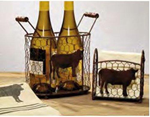 (IHF Metal Cow Caddies, Wine Holder and Napkin Holder)