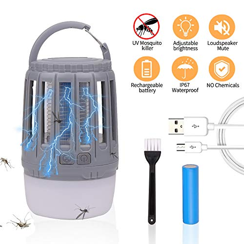 U-pick Camping Lantern with Rechargeable Bug Zapper,Portable IP67 Waterproof LED Flashlight-USB Rechargeable | Adjustable Brightness for Indoor,Outdoor,Camping,Tent,Hiking,Fishing