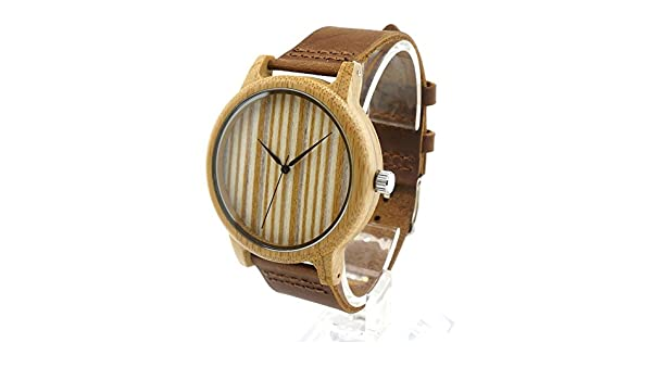 Amazon.com: Taonology wood nature gift watch straps genuine leather watch Japan movement watches bamboo wooden box witn Original: Watches