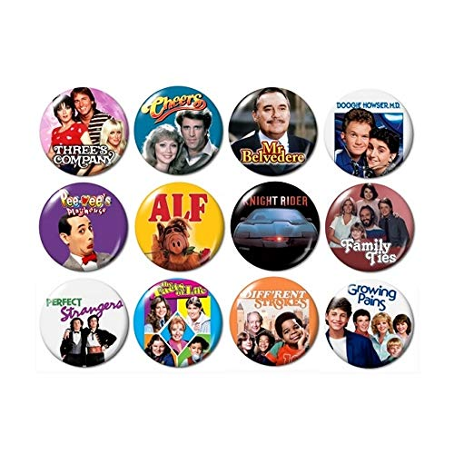 80's TV Buttons Pins (set #4) ()