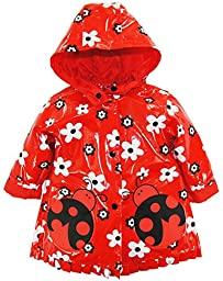Wippette Baby Girls Inf Ladybug Print Raincoat, Red, 18m