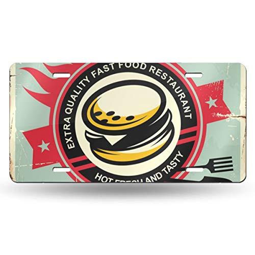 FCARPLATE Burgers Vintage Tin Sign Personality Vehicle Decoration Auto Car Aluminum License Plate Bike Card 6