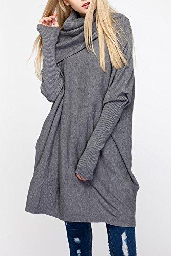 Suéter Cuello Mujeres Camiseta Acanalado D'amour Lettre Grey Las Bajo Punto Irregular De Drapeado Alto I7wIREqpx