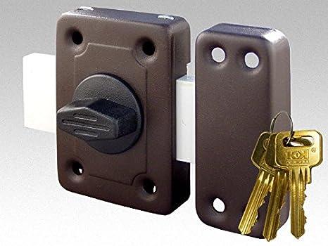 Cerradura de puerta universal - Cerradura de sobreponer de alta seguridad con 3 llaves - Cerradura de puerta de madera para jardín o cobertizo de cierre largo y fácil de instalar: Amazon.es: