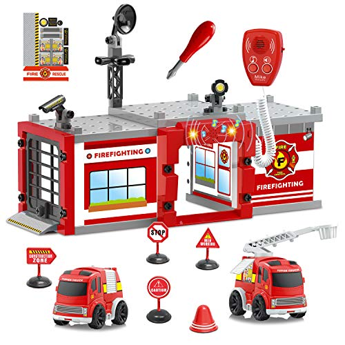 Fire Truck Toys,Take Apart Toys with Light & Sound, Fire Station Playset Toy (Total 59 Pcs) Including 2 Fire Trucks for Kids and Fire Station Building Block Accessories 19.5''L x 7.7''H x 13''W