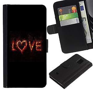 Samsung Galaxy S5 Mini / SM-G800 (Not For S5!!!) , la tarjeta de Crédito Slots PU Funda de cuero Monedero caso cubierta de piel ( Love Flaming Heart Black Text Valentines)