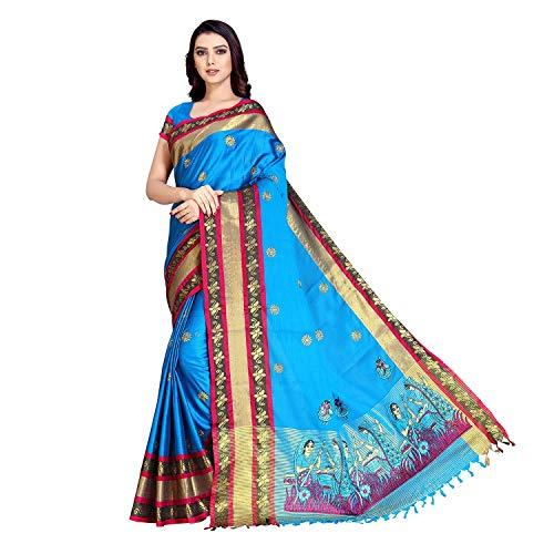 SP AURA Women's Premium Embroidered Cotton Saree with Blouse Piece Free Size Peocock Blue