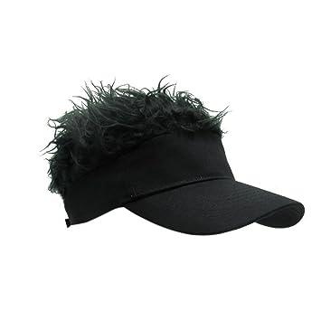 Wingbind Flair Hair Mens Visor Cap Hat Novelty Blonde Hair Visor Baseball  Cap with Funny Fake 4dd52aa928c1