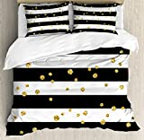 Ambesonne Gold and White King Size Duvet Cover Set by, Horizontal Bold Lines and Stripes with Polka Dots Circles Image, Decorative 3 Piece Bedding Set with 2 Pillow Shams, Charcoal Grey Yellow
