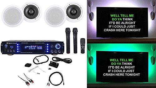 Rockville RPA7000UWM 1000w Karaoke Amplifier/Mixer+4) 6.5'' Ceiling Speakers+Mics by Rockville