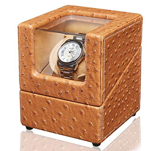 Sepano Automatic Single Watch Winder - Ostrich Leather Watch Winder Box with Mabuchi Motor (Dual Power Supply)