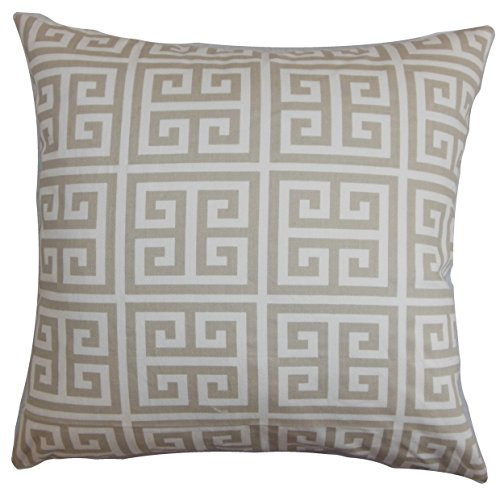 The Pillow Collection EURO-PP-TOWERS-SHERBETSOFTGREY- Paros Greek Key Bedding Sham, Gray White, European/26
