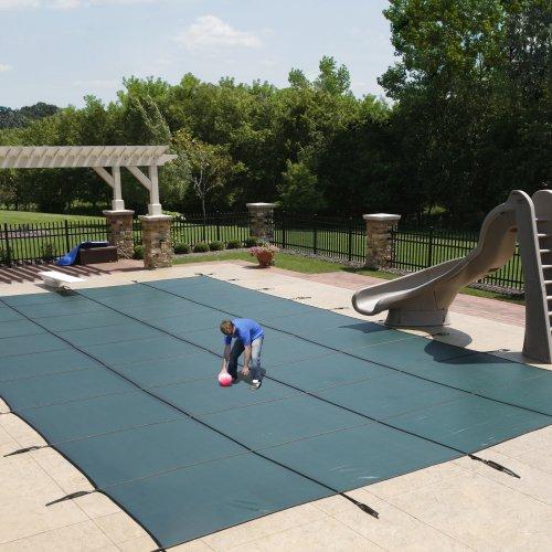 اسعار Blue Wave 18-ft x 36-ft Rectangular In Ground Pool Safety Cover w/ 4-ft x 8-ft Center Step - Green