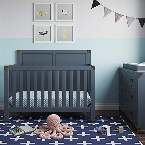 Baby Relax Miles 5-in-1 Convertible Crib, Graphite Blue (Brass Full Size Footboard)
