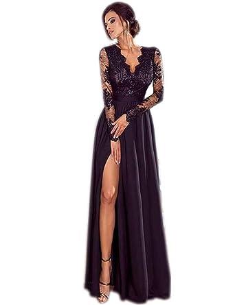fb007069213 iloits Les Femmes Formelles Manches Longues en Dentelle Patchwork Robe de  soirée Robe de Bal Floral