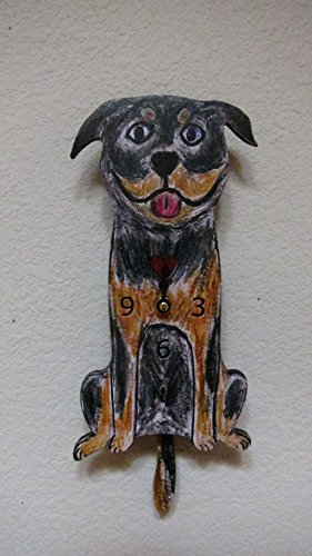 Wagging Tail Dog Wall Clock for Dog Lover Rottweiler (Tail Wagging Dog Clock)