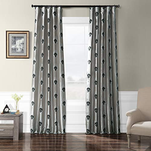 (HPD Half Price Drapes EFSCH-18056-120 Embroidered Faux Silk Taffeta Curtain 50 x 120 Elias Platinum)
