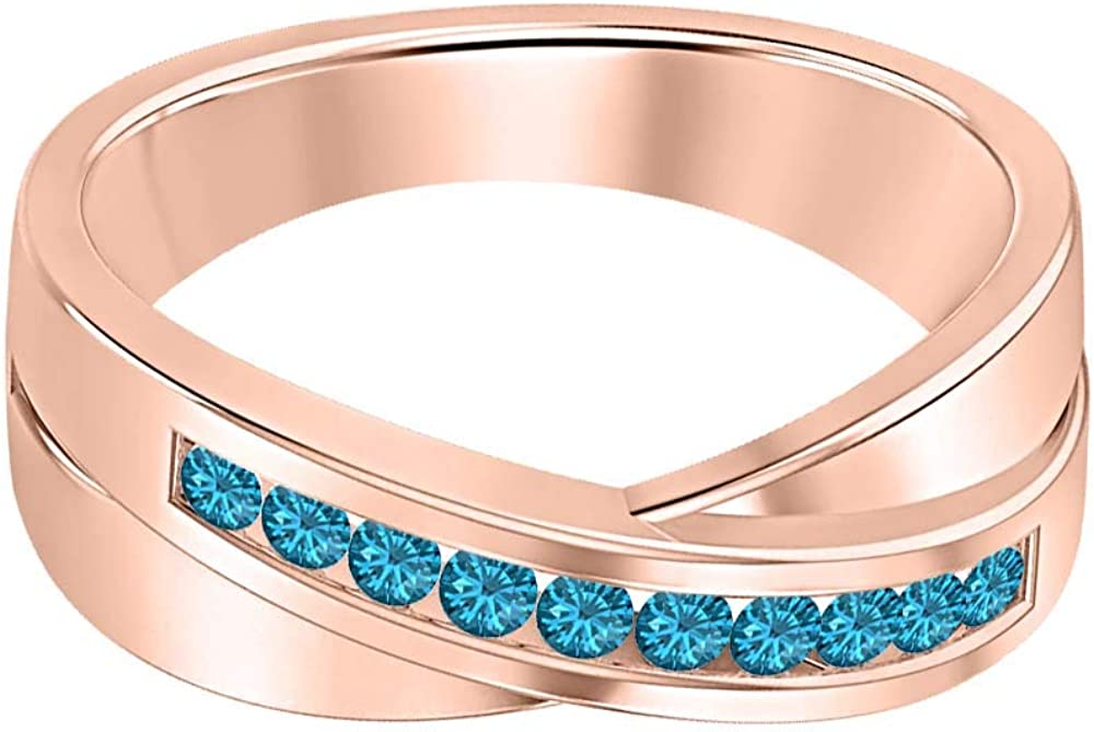 SVC-JEWELS 14K Rose Gold Over 925 Sterling Silver Round Cut Swiss Blue Topaz Criss Cross X Wedding Band Ring Men