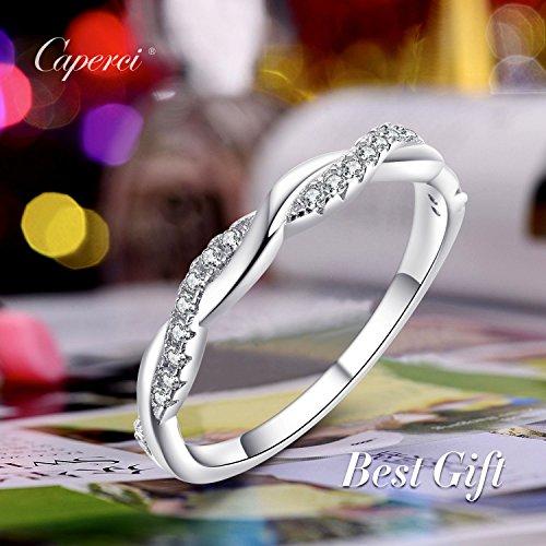 9fe1ca496f1cf6 Caperci Sterling Silver CZ Cubic Zirconia Diamond Ring for Wedding  Anniversary Jewelry, Size 5-