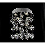 Cheap Chrome Ceiling Mount Chandelier with Hand Blown Bubble Glasses