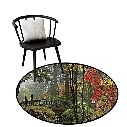 Home Round Rug Apartment Decor Collection for The Kitchen Wet Wooden Bridge at Portland Japanese Garden Oregon in Autumn with Various Trees Picture Paprika Green D47(120cm) (Furniture Oregon Portland Patio)