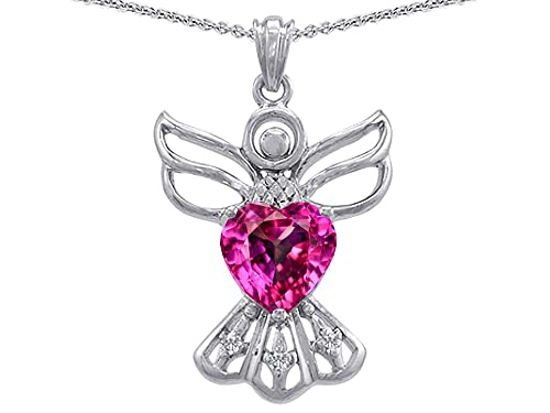 Star K Sterling Silver Guardian Angel Love and Protection Heart Pendant