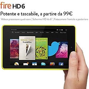 """Fire HD 6, schermo HD da 6"""", Wi-Fi, 8 GB (Giallo limone)"""