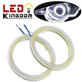 LEDKINGDOMUS 2 X 90mm HID White 105 COB LED for Angel Eyes Halo Ring Headlight & Fog Housing Lamp