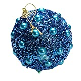 Christmas Tree Decoration Christmas Ball Ornaments Decoration Tree Balls for Holiday Wedding Party Decoration (8cm in Diameter) Rhinestone Glitter Baubles Balls Xmas Tree Ornament Decoration (Blue)