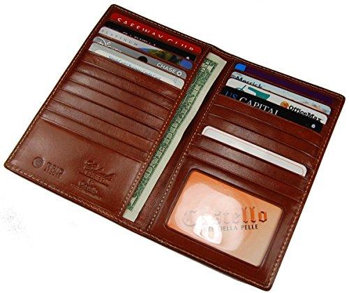 Leather Cardholder Long RFID Bi Cognac Slim Castello Wallet Italian Fold qCwEn0Cax