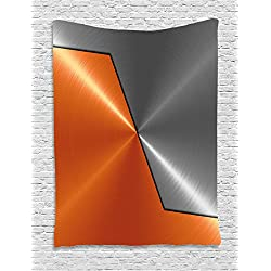 Ambesonne Orange and Grey Tapestry, 3D Style Machinery Structure Image Detailed Vivid Modern Contrast Colors, Wall Hanging for Bedroom Living Room Dorm, 60 W X 80 L Inches, Orange Gray