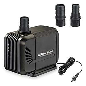 MINO ANT Submersible Water Pump 400GPH(1500L/H, 15W) For Pond, Fish Tank Pump, Fountain Pump, Statuary, Powerful Water Pump With 5.25ft(1.6m) Power Cord and 2 Nozzles