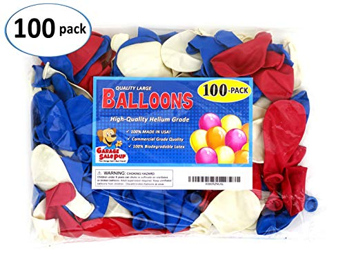 Garage Sale Pup Pack of 100, Assorted Bright Red, White and Blue Color Latex Balloons, Made in -