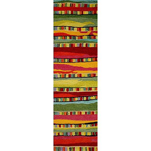Trans Ocean Wool Area Rugs Liora Manne Seville 9625/24 Mosaic Stripe Fiesta Area Rug 27 Inches X 8 Feet 27 X 0.63 X 96 Inches Red - Seville Mosaic Stripe