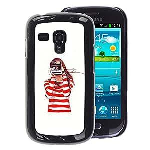 A-type Arte & diseño plástico duro Fundas Cover Cubre Hard Case Cover para Samsung Galaxy S3 MINI 8190 (NOT S3) (Camera White Photo Photographer)