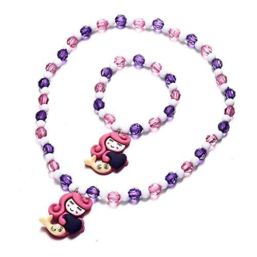 Onnea Cute Mermaid Pendant Beaded Bracelet Necklace Set for Kids Girls ()