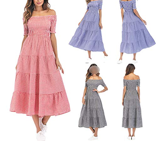 Maxi Vintage Plaid Checked Long Cotton Off Shoulder Ruched Elastic Ladies Dresses Vestidos at Amazon Womens Clothing store: