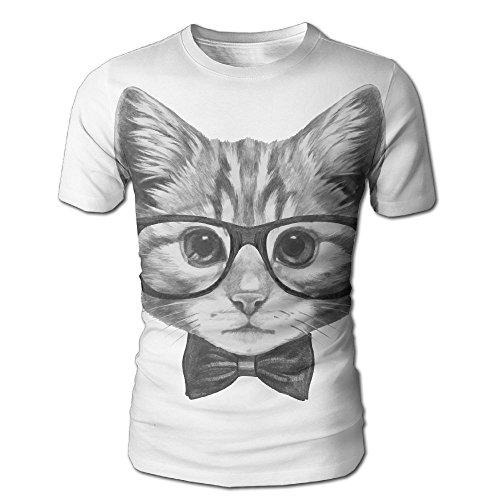 HenSLK Men's Summer Cat Head With Glasses Casual Novelty Crew Neck Short Sleeve Shirt - Ross Glasses Rick
