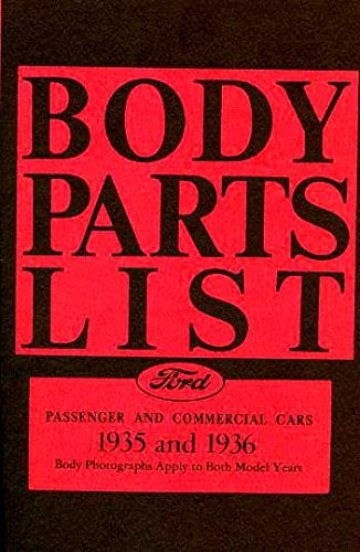 Trunk Restoration Hardware (COMPLETE & UNABRIDGED 1935 1936 FORD FACTORY BODY PARTS LIST COVERING Tudor, Roadster, Club Coupe, Fordor, Phaeton, Cabriolet, Sedan Delivery and Station Wagons)